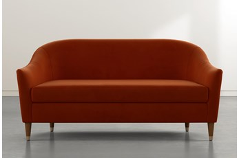 Marta Orange Velvet Sofa By Nate Berkus And Jeremiah Brent