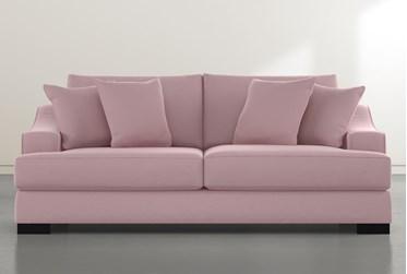 """Lodge Pink Velvet Foam 96"""" Queen Sleeper"""