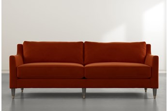 Ames Orange Velvet Sofa By Nate Berkus And Jeremiah Brent