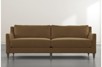 Ames Tan Velvet Sofa By Nate Berkus And Jeremiah Brent