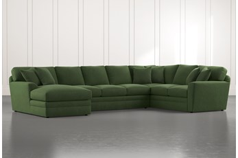 Prestige Foam Green 3 Piece Sectional With Left Arm Facing Chaise