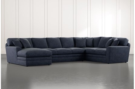 Prestige Foam Navy Blue 3 Piece Sectional With Left Arm Facing Chaise