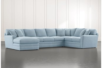 Prestige Foam Light Blue 3 Piece Sectional With Left Arm Facing Chaise