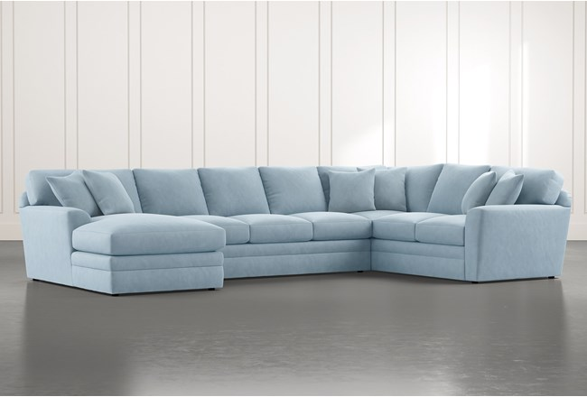 Prestige Foam Light Blue 3 Piece Sectional With Left Arm Facing Chaise - 360