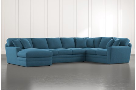 Prestige Foam Teal 3 Piece Sectional With Left Arm Facing Chaise