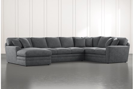 Prestige Foam Dark Grey 3 Piece Sectional With Left Arm Facing Chaise