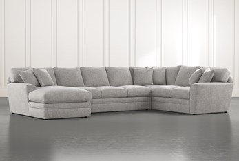 Prestige Foam Light Grey 3 Piece Sectional With Left Arm Facing Chaise