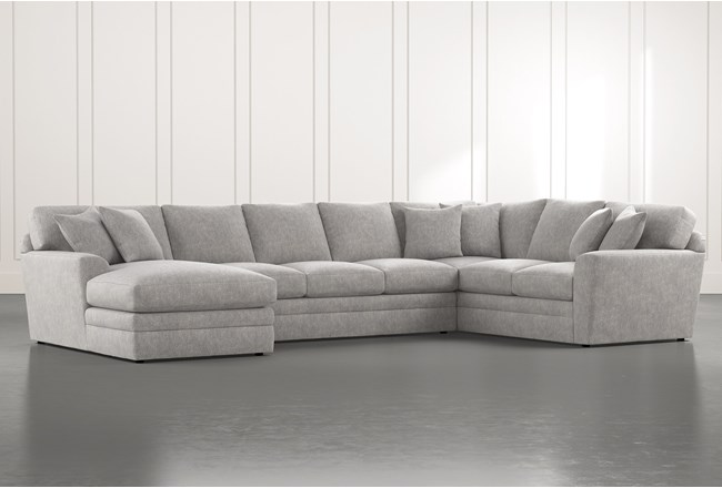 Prestige Foam Light Grey 3 Piece Sectional With Left Arm Facing Chaise - 360