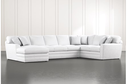 Prestige Foam White 3 Piece Sectional With Left Arm Facing Chaise