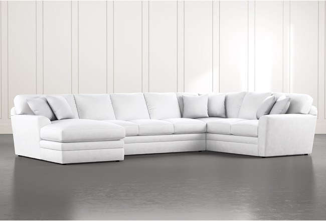 Prestige Foam White 3 Piece Sectional With Left Arm Facing Chaise - 360