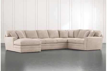 Prestige Foam Beige 3 Piece Sectional With Left Arm Facing Chaise