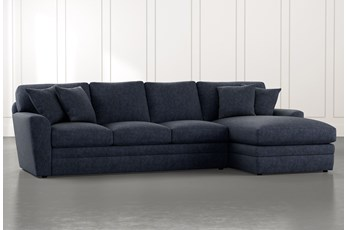 Prestige Foam Navy Blue 2 Piece Sectional With Left Arm Facing Chaise