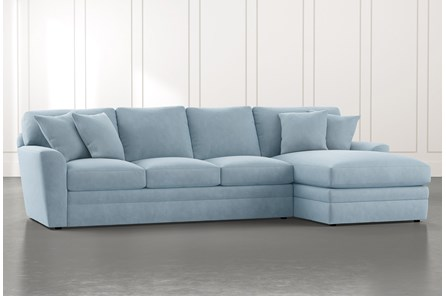 Prestige Foam Light Blue 2 Piece Sectional With Left Arm Facing Chaise