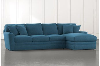 Prestige Foam Teal 2 Piece Sectional With Left Arm Facing Chaise