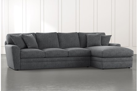 Prestige Foam Dark Grey 2 Piece Sectional With Left Arm Facing Chaise