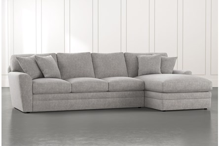 Prestige Foam Light Grey 2 Piece Sectional With Left Arm Facing Chaise