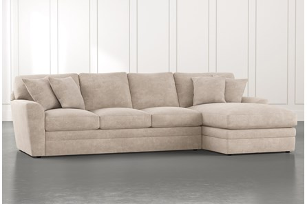 Prestige Foam Beige 2 Piece Sectional With Left Arm Facing Chaise