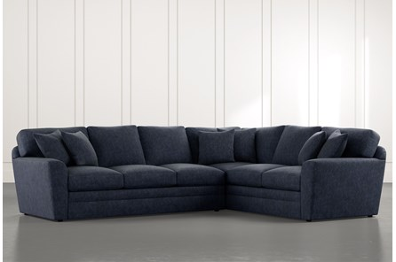 Prestige Foam Navy Blue 2 Piece Sectional With Left Arm Facing Sofa