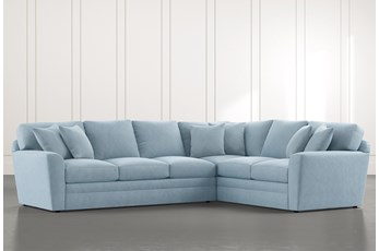 Prestige Foam Light Blue 2 Piece Sectional With Left Arm Facing Sofa