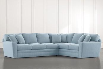 Prestige Foam Light Blue 2 Piece Sectional With Left Arm Facing Sofa