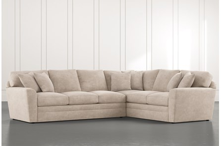 Prestige Foam Beige 2 Piece Sectional With Left Arm Facing Sofa