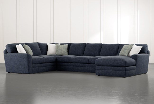 """Prestige Foam 3 Piece 159"""" Sectional With Right Arm Facing Chaise - 360"""