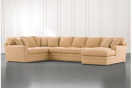 Prestige Foam Yellow 3 Piece Sectional With Right Arm Facing Chaise