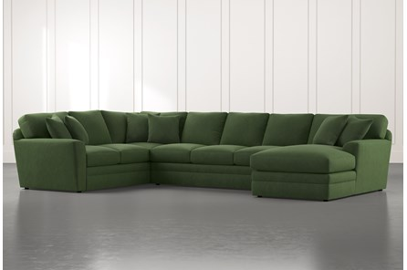 Prestige Foam Green 3 Piece Sectional With Right Arm Facing Chaise