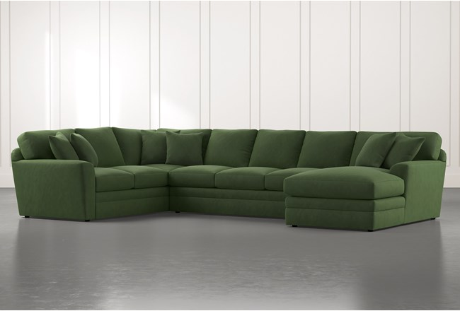 Prestige Foam Green 3 Piece Sectional With Right Arm Facing Chaise - 360