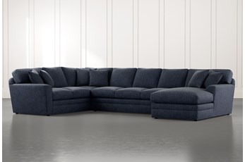 Prestige Foam Navy Blue 3 Piece Sectional With Right Arm Facing Chaise
