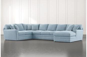 Prestige Foam Light Blue 3 Piece Sectional With Right Arm Facing Chaise