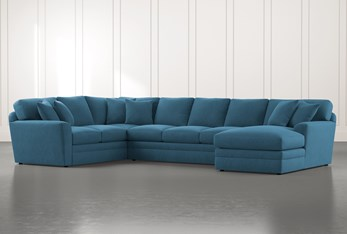 Prestige Foam Teal 3 Piece Sectional With Right Arm Facing Chaise