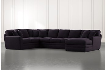 Prestige Foam Black 3 Piece Sectional With Right Arm Facing Chaise