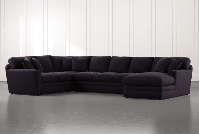 Prestige Foam Black 3 Piece Sectional With Right Arm Facing Chaise - 360