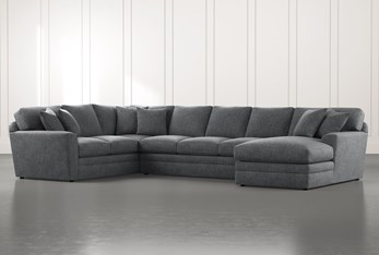 Prestige Foam Dark Grey 3 Piece Sectional With Right Arm Facing Chaise