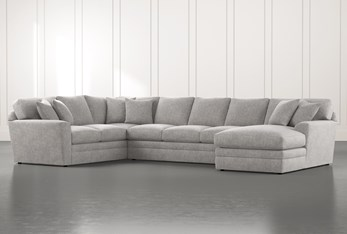 Prestige Foam Light Grey 3 Piece Sectional With Right Arm Facing Chaise
