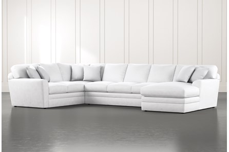 Prestige Foam White 3 Piece Sectional With Right Arm Facing Chaise