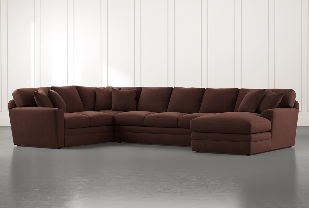 Prestige Foam Brown 3 Piece Sectional With Right Arm Facing Chaise