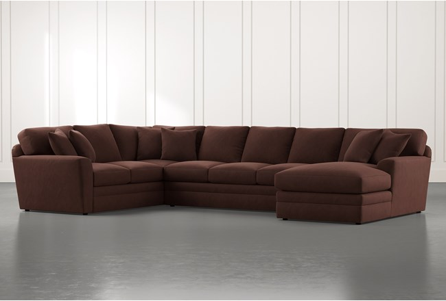 Prestige Foam Brown 3 Piece Sectional With Right Arm Facing Chaise - 360