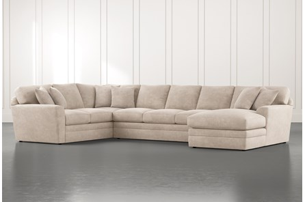 Prestige Foam Beige 3 Piece Sectional With Right Arm Facing Chaise