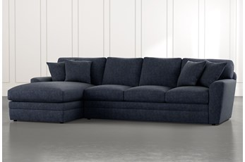 Prestige Foam Navy Blue 2 Piece Sectional With Right Arm Facing Chaise