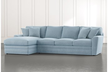 Prestige Foam Light Blue 2 Piece Sectional With Right Arm Facing Chaise