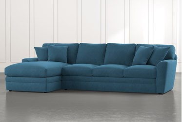 Prestige Foam Teal 2 Piece Sectional With Right Arm Facing Chaise
