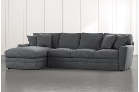 Prestige Foam Dark Grey 2 Piece Sectional With Right Arm Facing Chaise