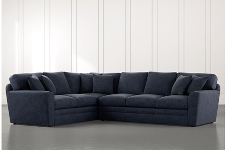 Prestige Foam Navy Blue 2 Piece Sectional With Right Arm Facing Sofa