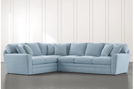 Prestige Foam Light Blue 2 Piece Sectional With Right Arm Facing Sofa