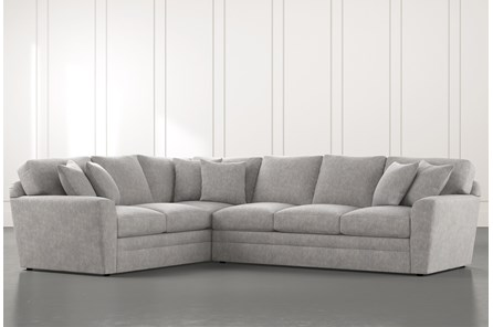 Prestige Foam Light Grey 2 Piece Sectional With Right Arm Facing Sofa