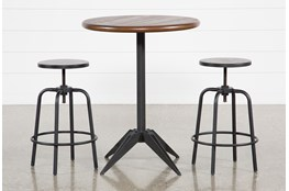 Oslo 3 Piece Pub Set With Millie Adjustable Stools