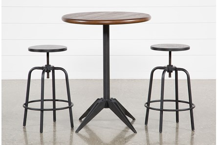 Thor 3 Piece Pub Set With Millie Adjustable Stools