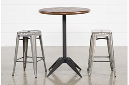 Oslo 3 Piece Pub Set With Radical Silver 26 Inch Stools